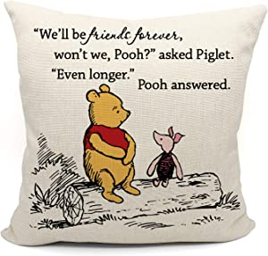 Winnie the Pooh and Piglet Pillow Case, Friendship Gifts Decorative Pillow Covers, Winnie the Pooh Theme Room, Student Gift, Back to School Gift, 18 x 18 Inch Linen Cushion Cover for Sofa Couch Bed