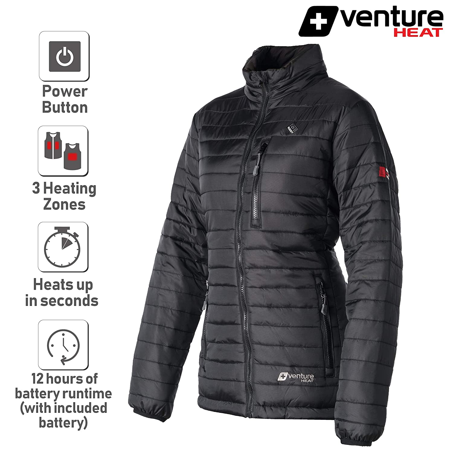 Battery Heated Clothing >> Venture Heat Women S Heated Jacket With Battery 12 Hour The Traverse Packable Puffer Heated Jacket For Women