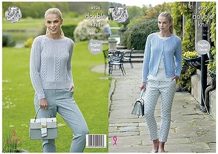 22adc41050dc Amazon.com  King Cole Ladies Double Knitting Pattern Womens Raglan ...