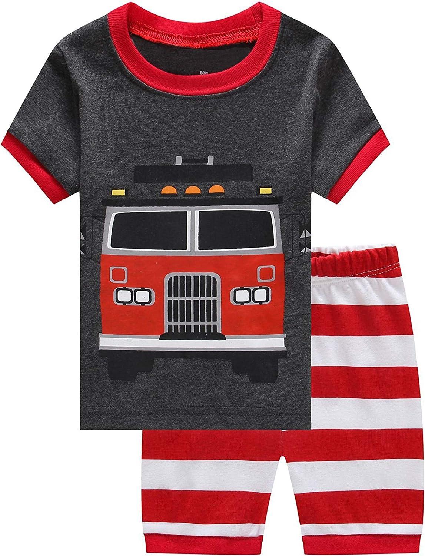 1-Boys, 7 Year US 7 Qtake Fashion Boys Pajamas Summer Short Children Set 100/% Cotton Little Kids Pjs Sleepwear Size 12M-12year