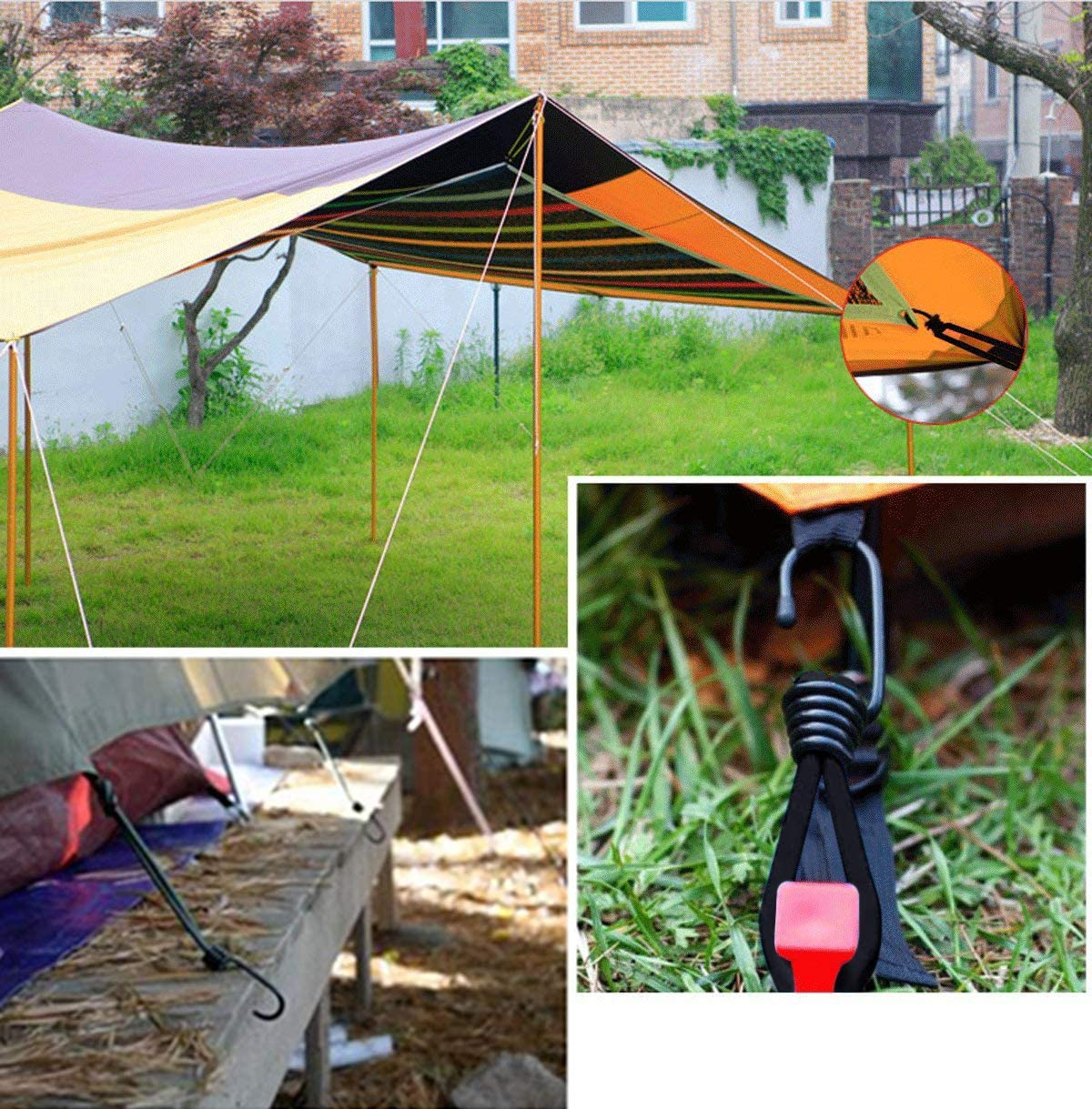 Tarpaulin Tarp Bungee Elastic Stretch Straps With Metal Hooks Camping Outdoor 10Pcs Bungee Hook Ties JJ PRIME