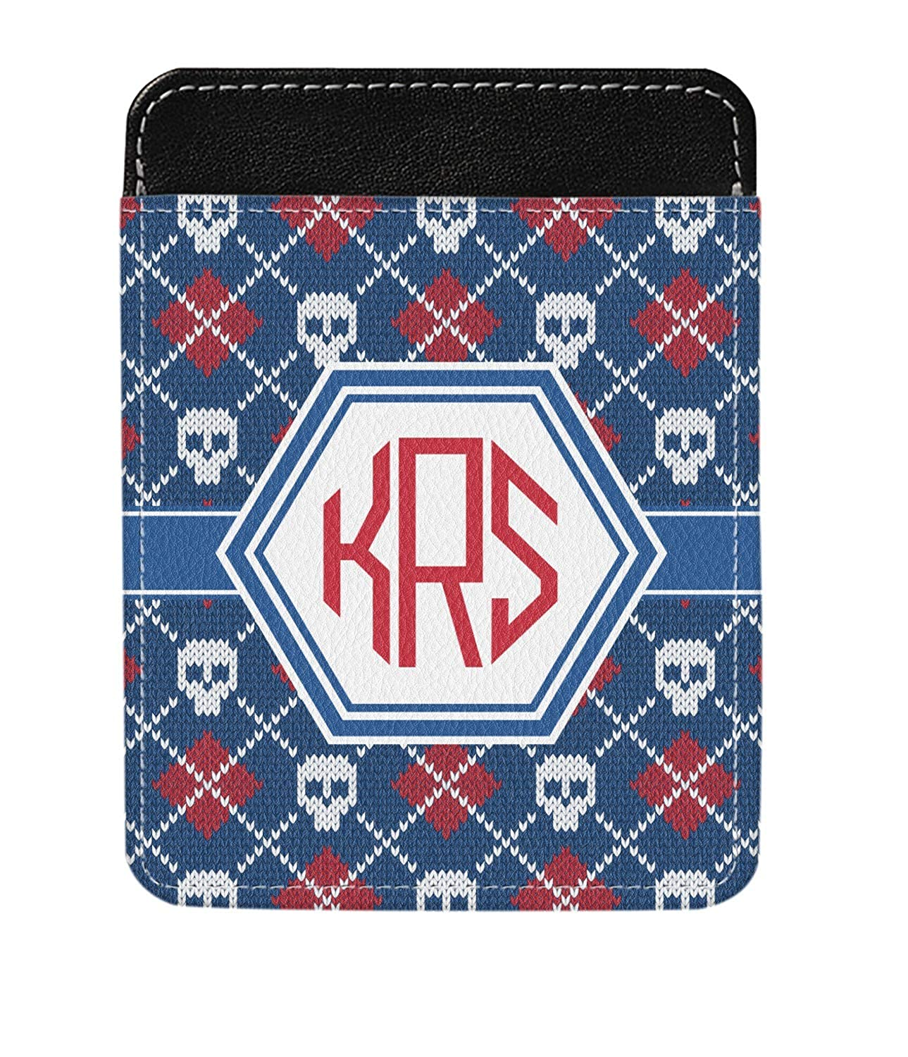 Knitted Argyle /& Skulls Genuine Leather Money Clip Personalized