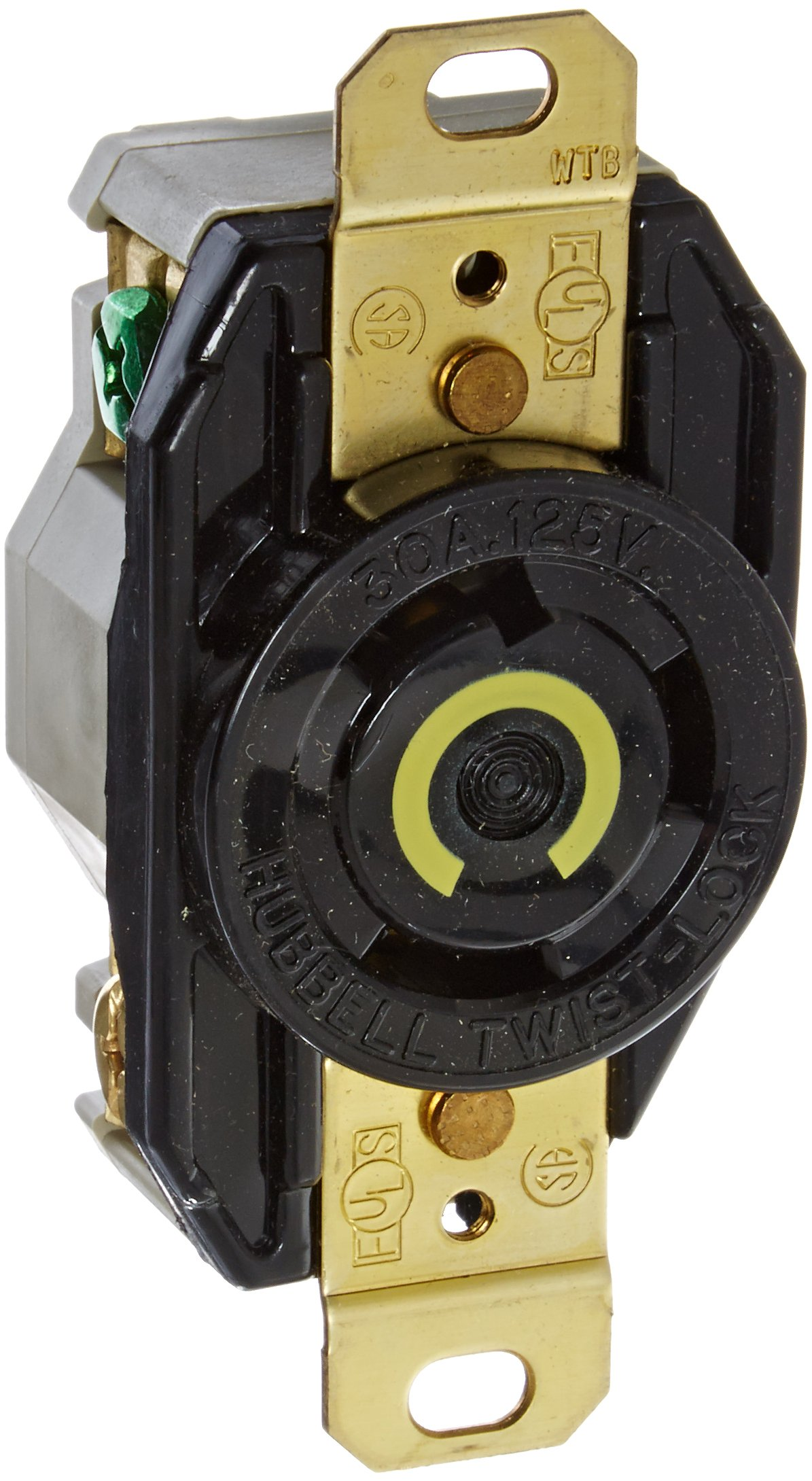 Hubbell Wiring Systems HBL2610 Nylon Face Twist-Lock Receptacle, 30 Ampere, 125V, 2-Pole, 3-Wire Grounding, Black