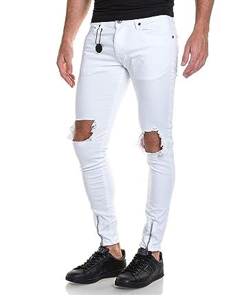 Project X - Jeans Homme Blanc Slim Déchiré Aux Genoux: Amazon.Fr
