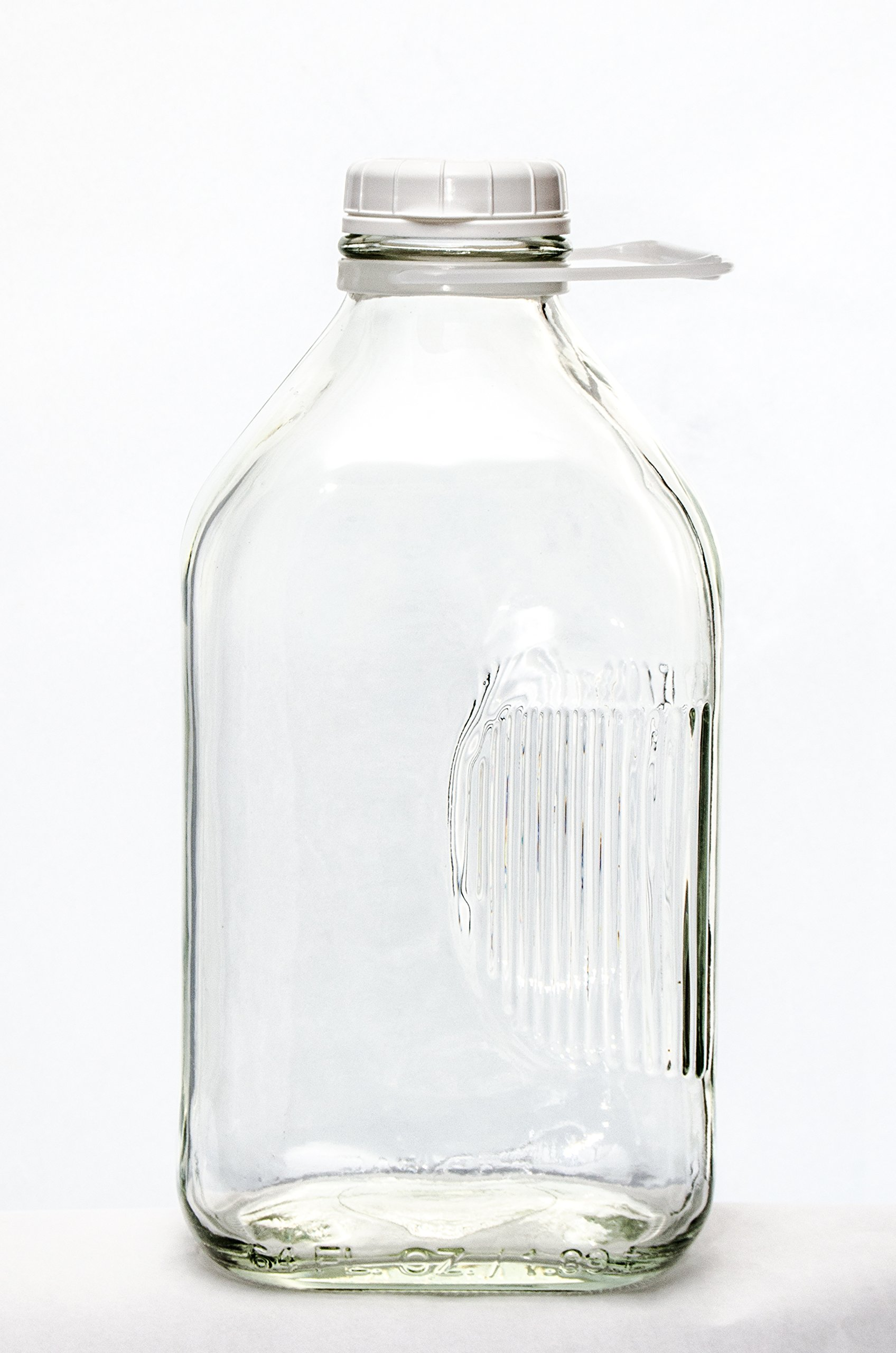 The Dairy Shoppe 2 Qt Heavy Glass Milk Bottle with Handle & Cap, 64 oz, 1/2 gallon