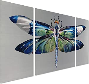 """Psychedelic Moth - Metal Decor in 3 Panels of 50"""" x 24"""" - Animal Wall Sculpture is The Perfect Decoration for Living Room or Kitchen"""
