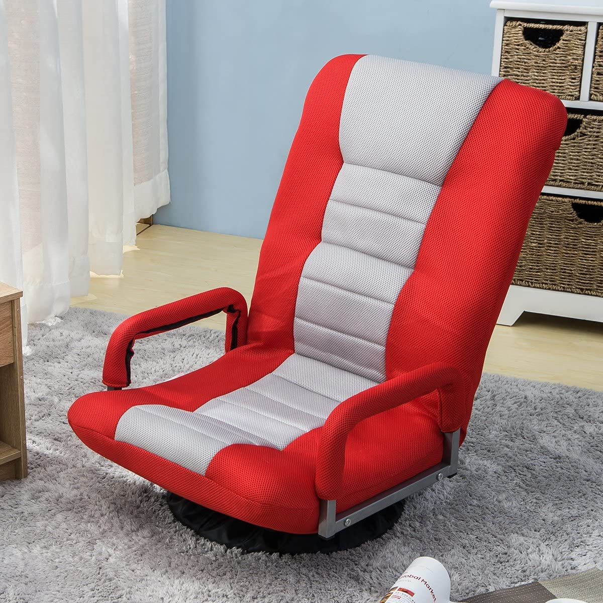 Swivel Gaming Floor Chair, Folding Lazy Sofa Lounger with Armrests and Adjustable Backrest, Red