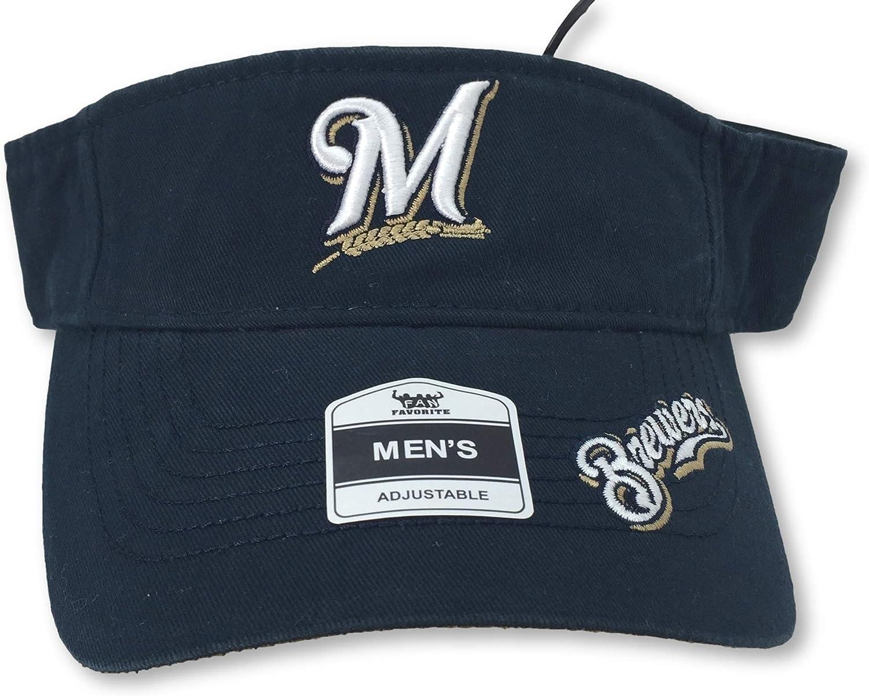 Fan Favorite Milwaukee Brewers Adult Adjustable Self Strap Visor