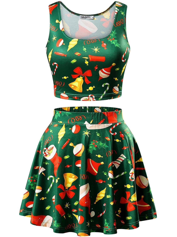 MSBASIC Christmas Crop Tank Top/Pleated Mini Skater Skirt Set for Women