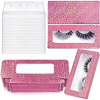 24 Pieces Glitter Empty False Eyelash Box Eyelash Packaging Box Plastic Lash Case Holder with 24 Clear Eyelash Tray and…