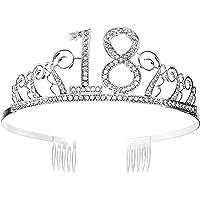 Tiara Cumpleaños Corona 18TH con Peine Artículos de Fiesta y Decoraciones Accesorios Plata Cristal Diademas Mujer…