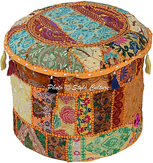 Stylo Culture Cotton Tuffet Hassock 16 Patchwork Embroidered Ottoman Stool Pouf Cover Yellow Floral Footstool Floor Cushion Ethnic Decor Bean Bag Living Room