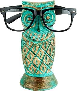 Krazy Craft Owl Spectacle Holder | Wooden Eyeglass Holder | Handmade Turquoise Shabby Chic Design | Wood Tabletop Display Stand | Eyeglass Eyewear Retainer for Women Men | Bedside Display Stand