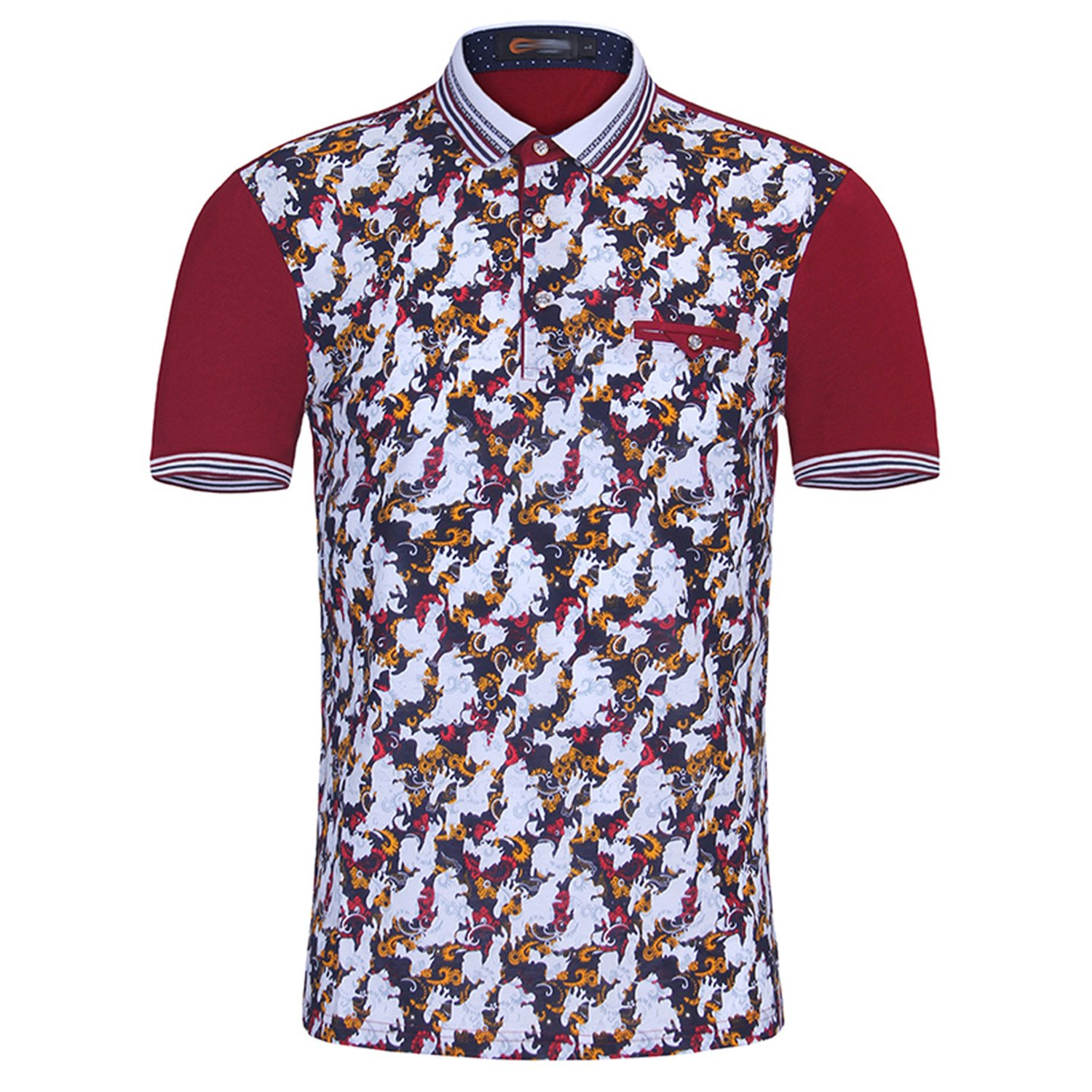 Willie Marlow Men Polo Slim Fashion Pattern Printing Summer Short Sleeve Mercerized Cotton Polo Shirt Plus Size red L