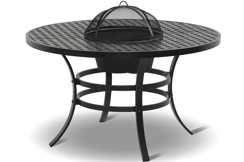 HARTMAN exklusiver Jamie Oliver Esstisch, Grilltisch in edlem grau, solider hochwertiger Aluminium-Guss, runde Tischplatte, Ø 132 x 74 cm, wetterfest, korrosionsbeständig, Metallwanne einsetzbar