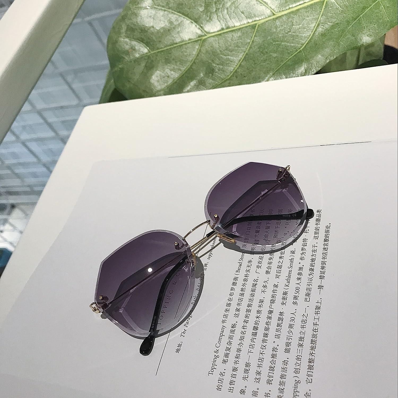 VVIIYJ Kleine Rahmenlose Transparente Strahlung Flache Brille Schnittkante Sonnenbrille Polygon Rahmen Weiblich ,Transparent