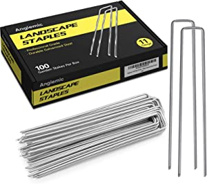 Angiemic 100 Pack 8 Inch Galvanized Landscape Staples 11 Gauge Garden Stakes Ground Staples Sturdy Rustproof Landscaping Staples Sod Pins for Anchoring Weed Barrier Landscape Fabric Ground Cover Fence