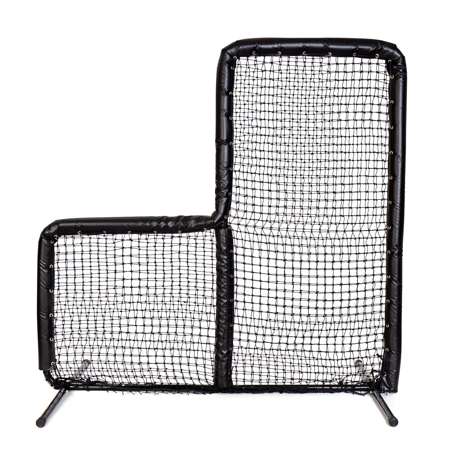 Armor Series Pitching Screen Baseball Softball Practice Net with Screen Bulletz Leg Caps. 7x7 L-Screen Perfect for Baseball and Softball Batting Practice. Choose Padding Color. (Black) by Armor