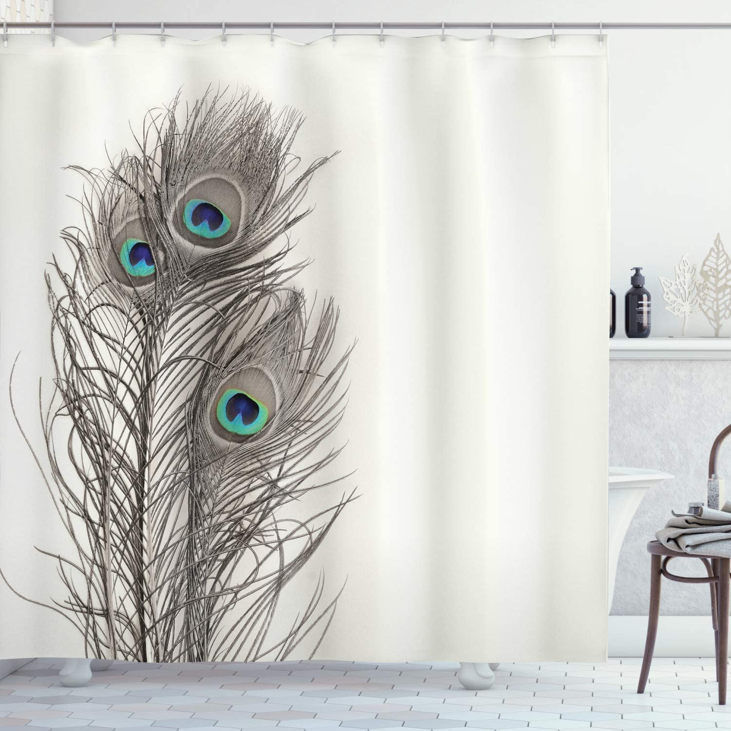 "Ambesonne Peacock Shower Curtain, Feathers of Exotic Bird on White Backdrop Bohemian Wildlife Composition, Cloth Fabric Bathroom Decor Set with Hooks, 75"" Long, Ecru"