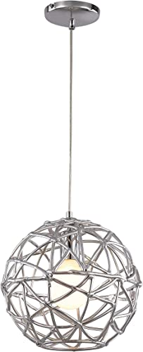 Trans Globe Imports PND-966 Transitional One Light Pendant from Space Collection Finish, 12.00 inches, Polished Chrome