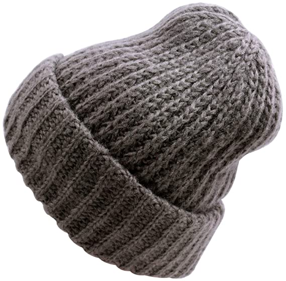 e2a4a998859 WDSKY Women s Rib Knit Cuffed Beanie Hats Warm Dark Grey at Amazon ...