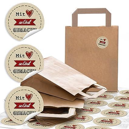 24 Kleine marrón natural bolsas de papel Papel bolsillos Asa ...