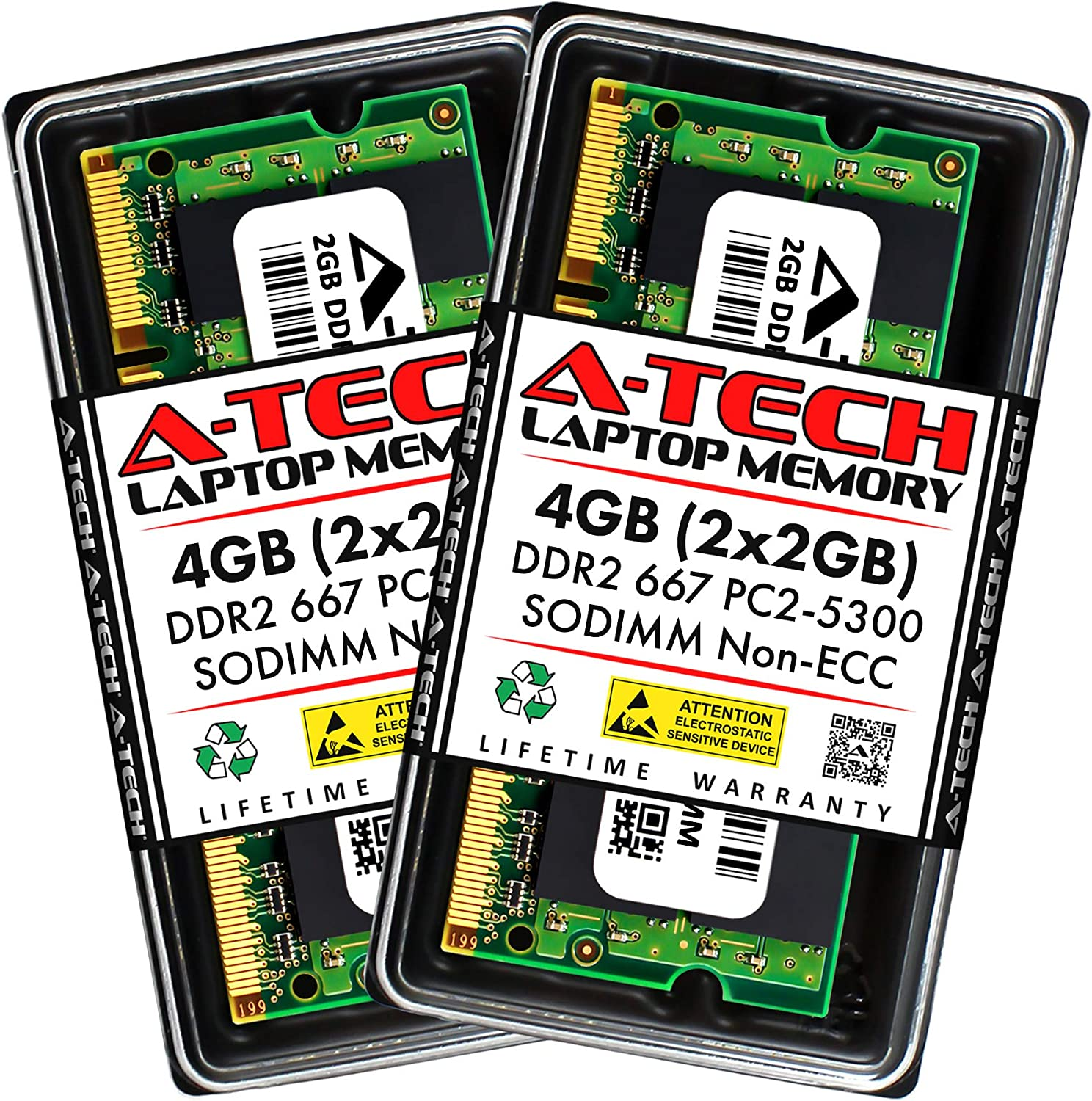 A-Tech 4GB (2x2GB) DDR2 667MHz SODIMM PC2-5300 1.8V CL5 200-Pin Non-ECC Unbuffered Laptop RAM Memory Upgrade Kit