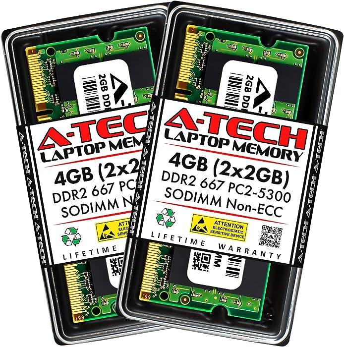 A-Tech 4GB (2x2GB) DDR2 667MHz SODIMM PC2-5300 1.8V CL5 200-Pin Non-ECC Unbuffered Laptop RAM Memory Upgrade Kit