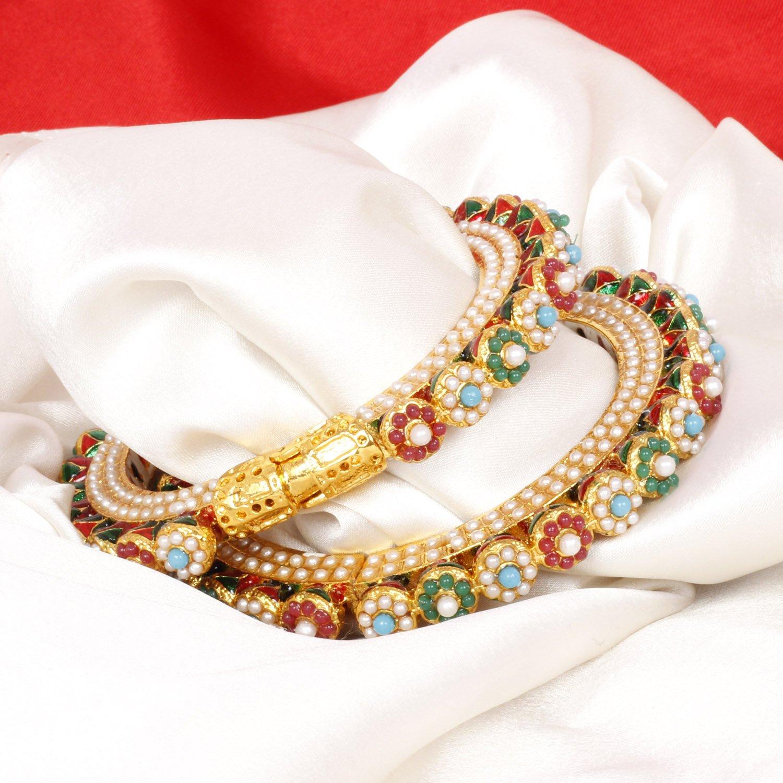 SANARA Indian Bollywood Jaipuri Handmade Gold Tone Bangle Bracelet Set Wedding Partywear Jewelry ABG-002
