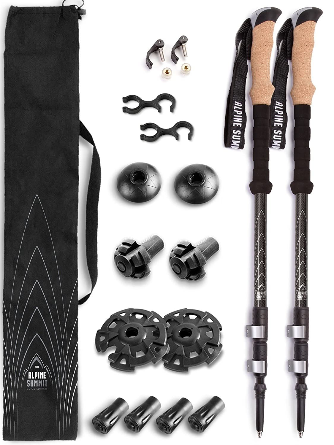 Alpine Summit 100 Carbon Fiber Trekking Poles – Pair with Cork Grips and Strong Aluminum Fliplocks. Includes All Terrain Tips and Travel Bag. for Men or Women