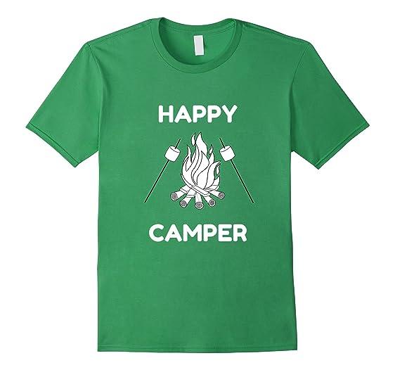 Mens Happy Camper T Shirt Kids Women Men Smores Campfire Tshirt 2XL Grass