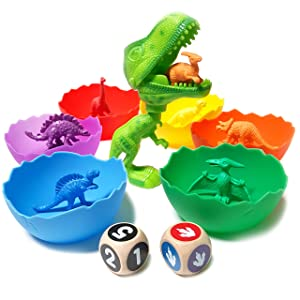 Jumbo Sorting & Counting Dinosaurs Matching Game - Educational Dinosaur Toys for 2 3 4 5 Year Olds with 54 Math Manipulatives, Dino Grabber, Toddler Games Dice, Toy Storage & Kids Activities eBook