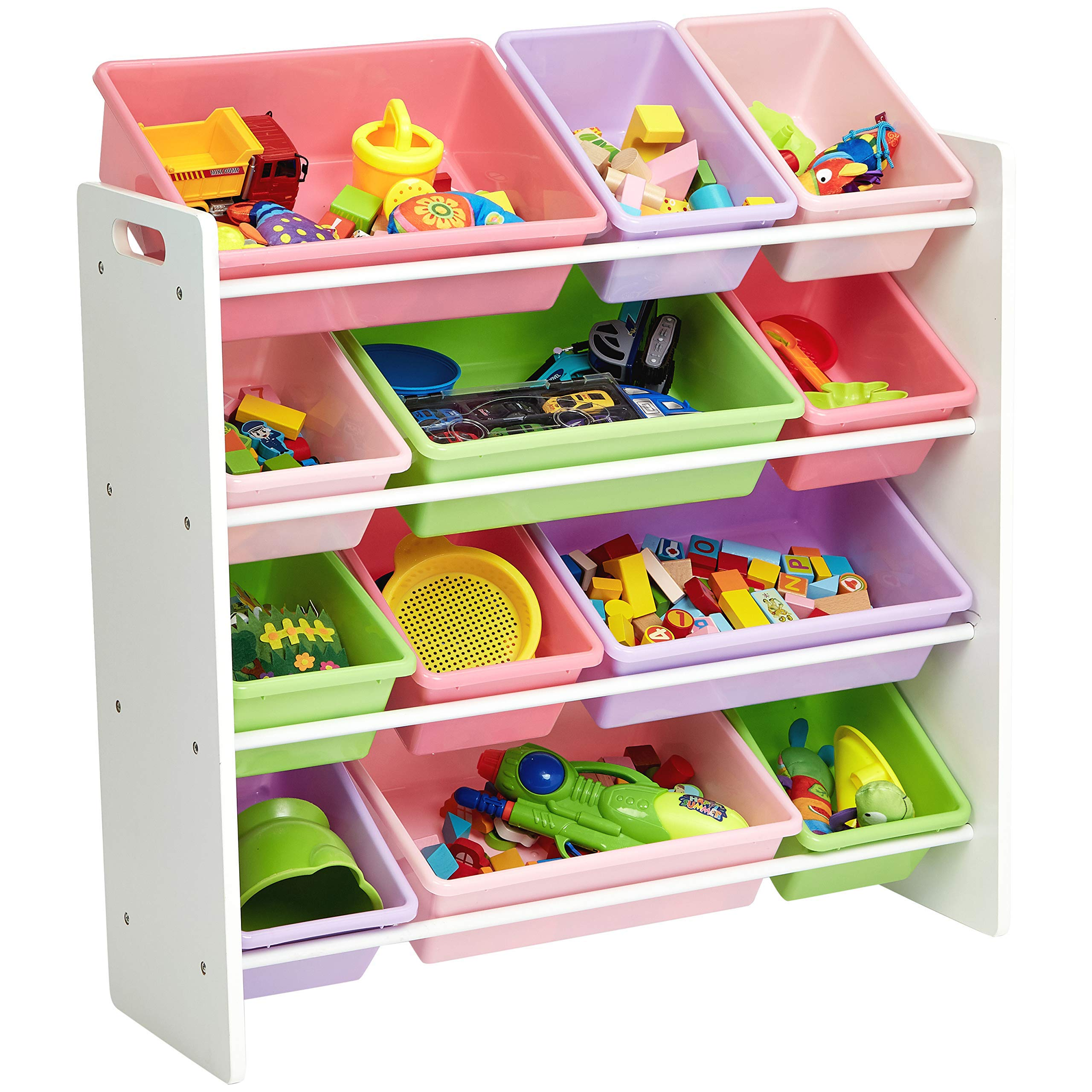 AmazonBasics Kids Toy Storage Organizer Bins - White/Pastel by AmazonBasics (Image #3)