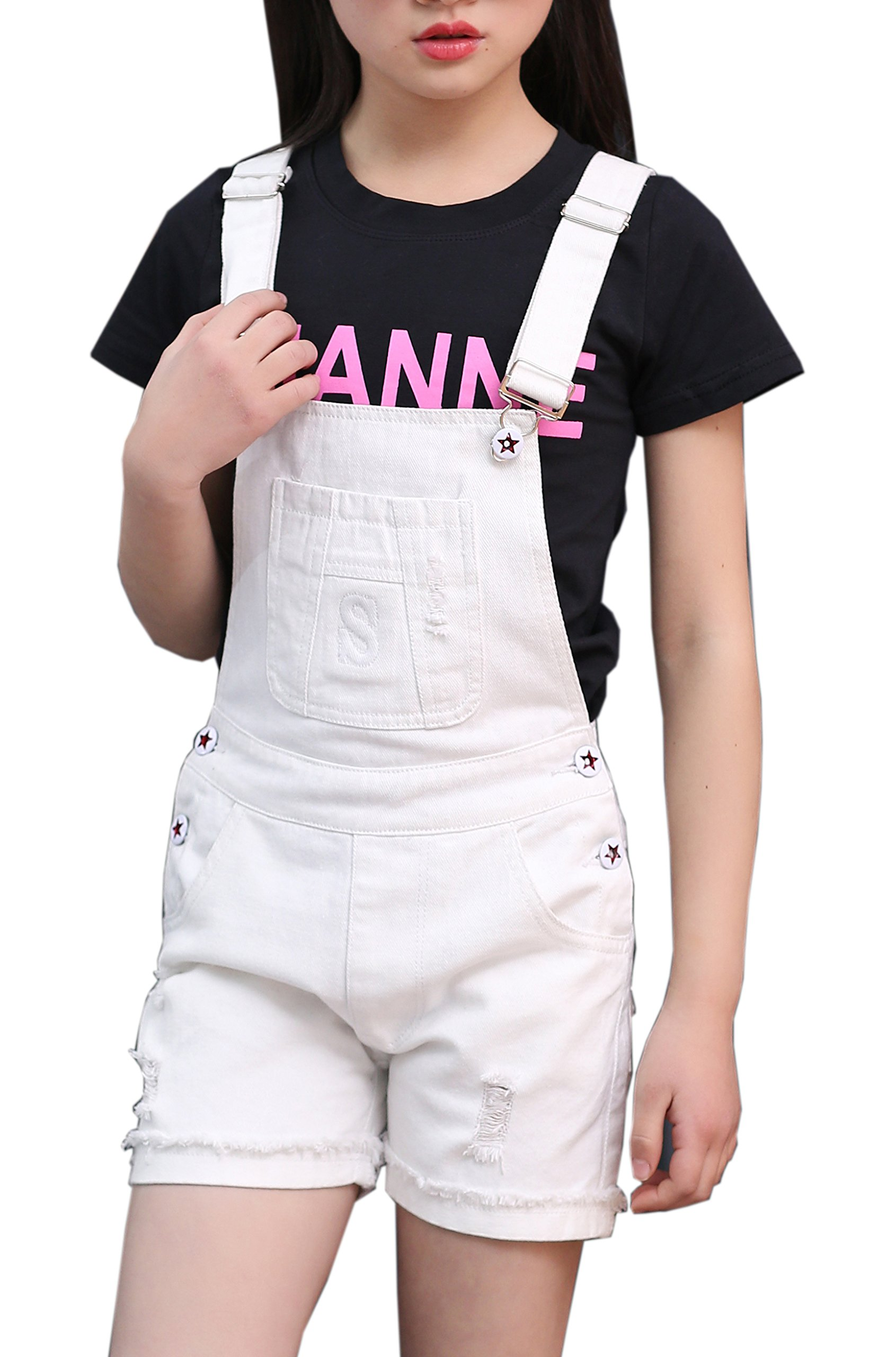 Sitmptol Big Girls Kids Denim Overalls Cute Jumpsuits Casual Bib Boyfriend Romper 1 Piece (11-12 Years, White) by Sitmptol