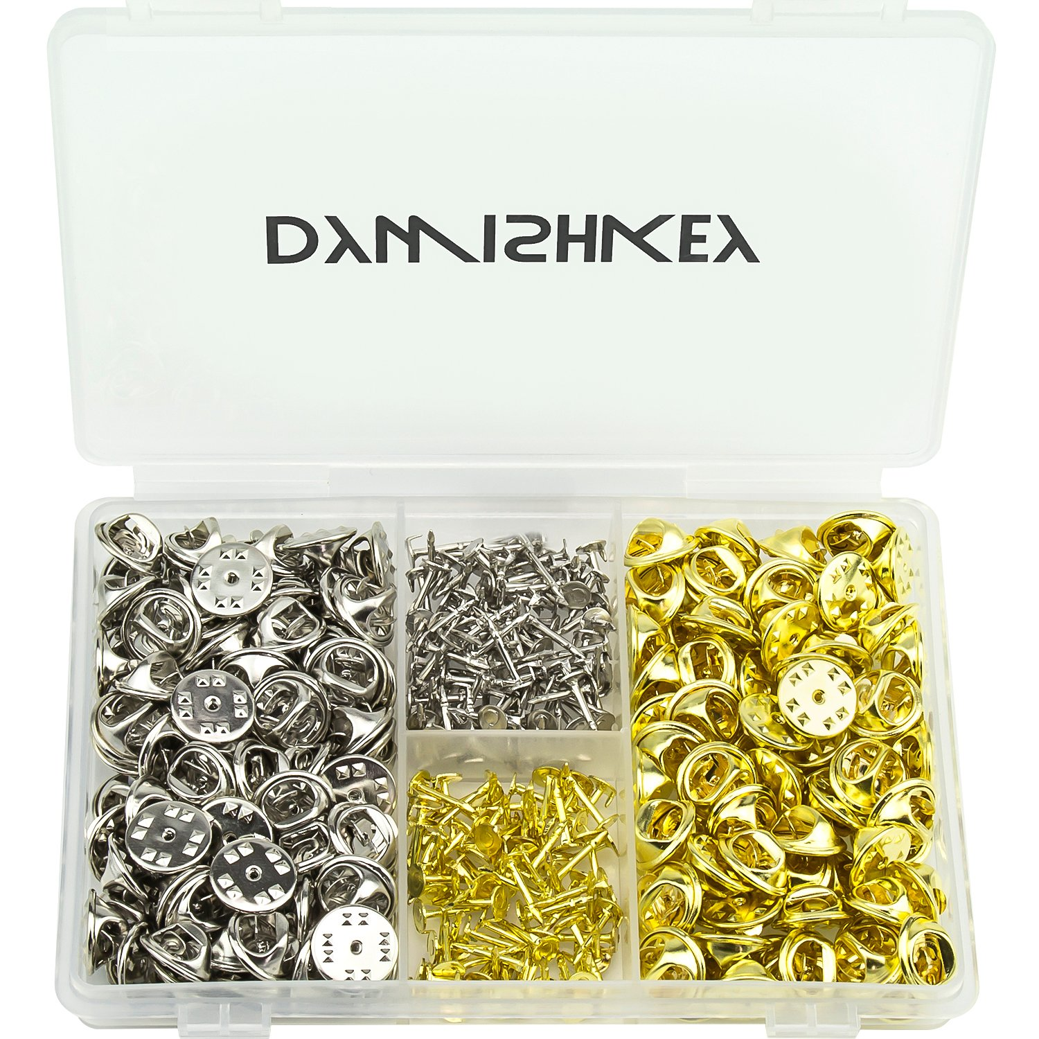 DYWISHKEY 320pcs Butterfly Clutch Metal Uniform Pin Badge Insignia Clutches Backs with Pins (Mix Color)