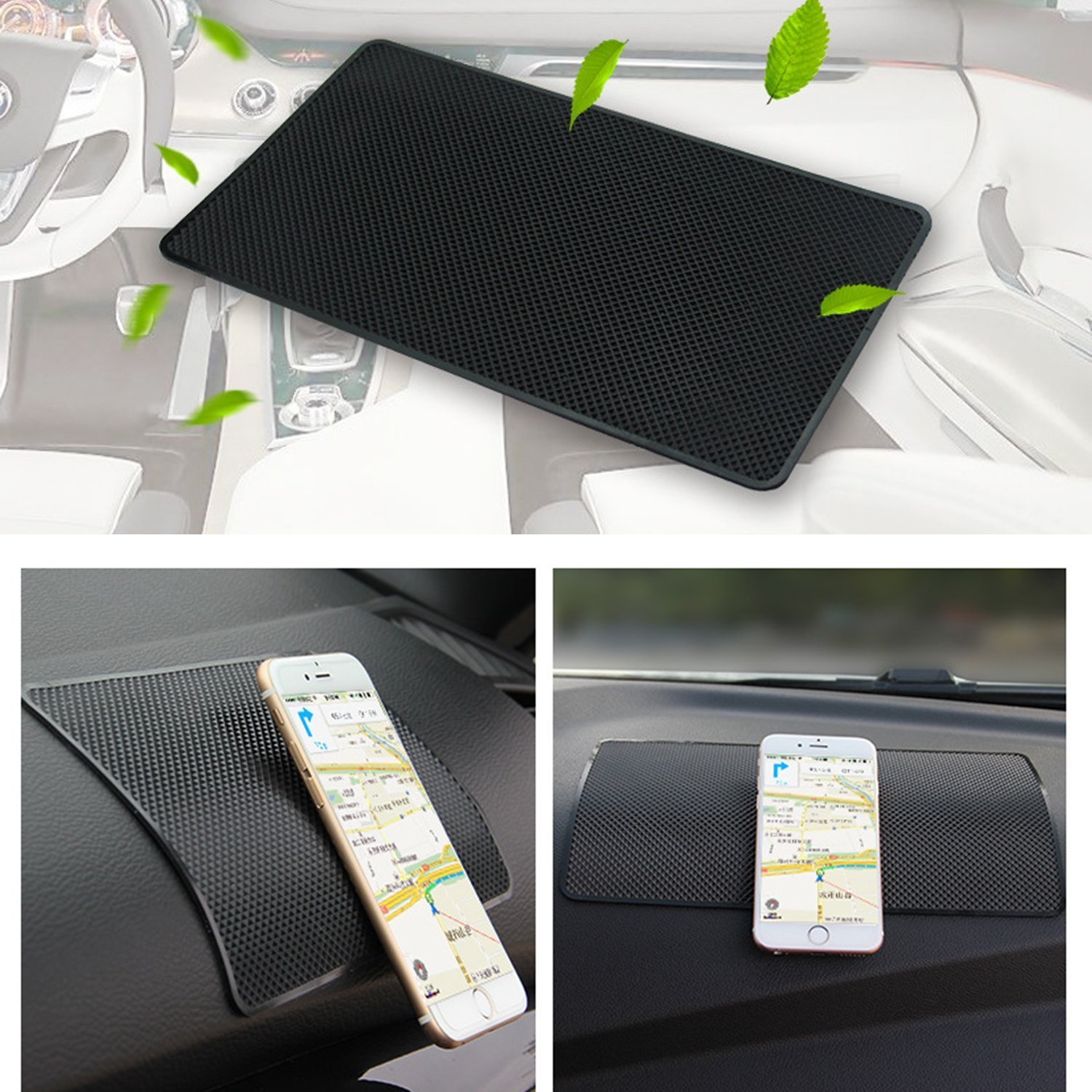 Without Logo CD and Other Smooth Items Electronic Devices Keyboard Auto Sport High Temperature Resistance Medium 7.5Inch Leather Surface Anti-Slip Non-Slip Mat Car Dashboard Pad Mat for Phone