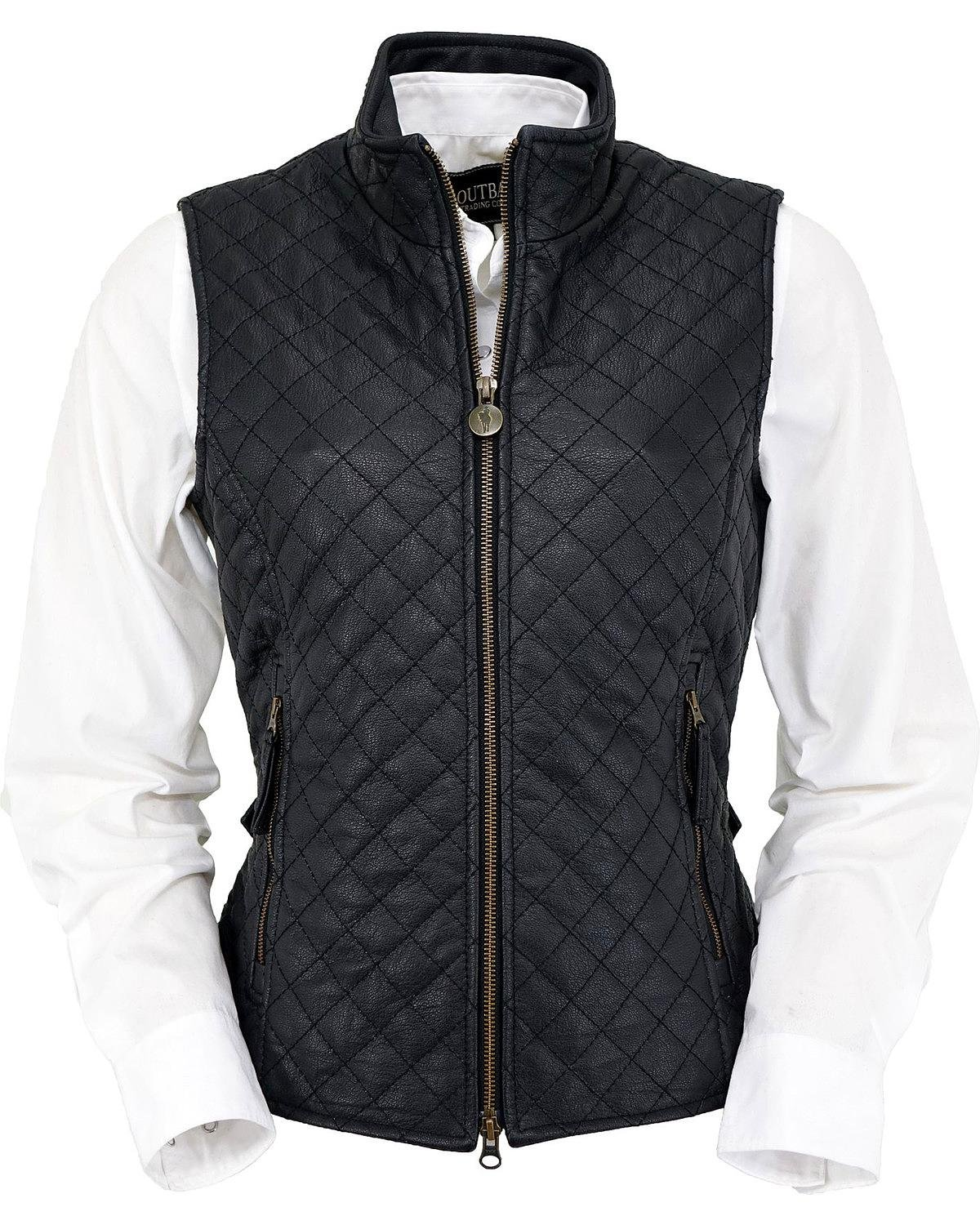 Outback Trading Co Women's Co. Bunbury Quilted Leather Vest Black Medium by Outback Trading
