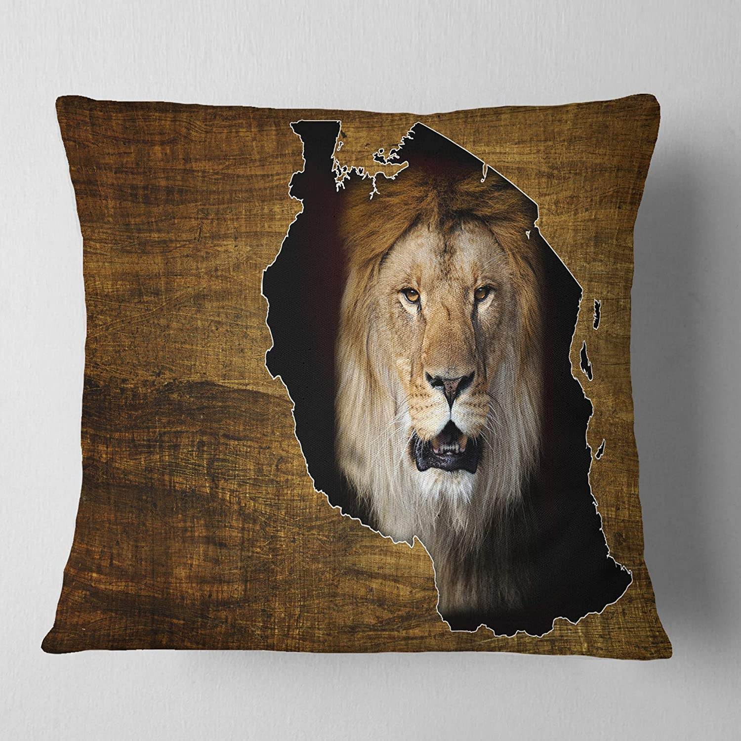 Designart CU12956-26-26 Tanzania Wildlife Map Design' Abstract Cushion Cover for Living Room, Sofa Throw Pillow 26 in. x 26 in. in, Insert Printed On Both Side