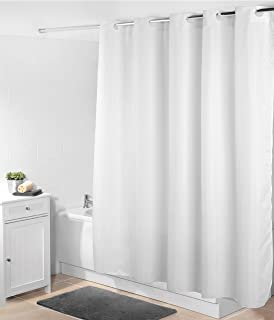 Beldray LA041777WHT Jacquard Striped Hookless Shower Curtain 180 X 185 Cm White Polyester