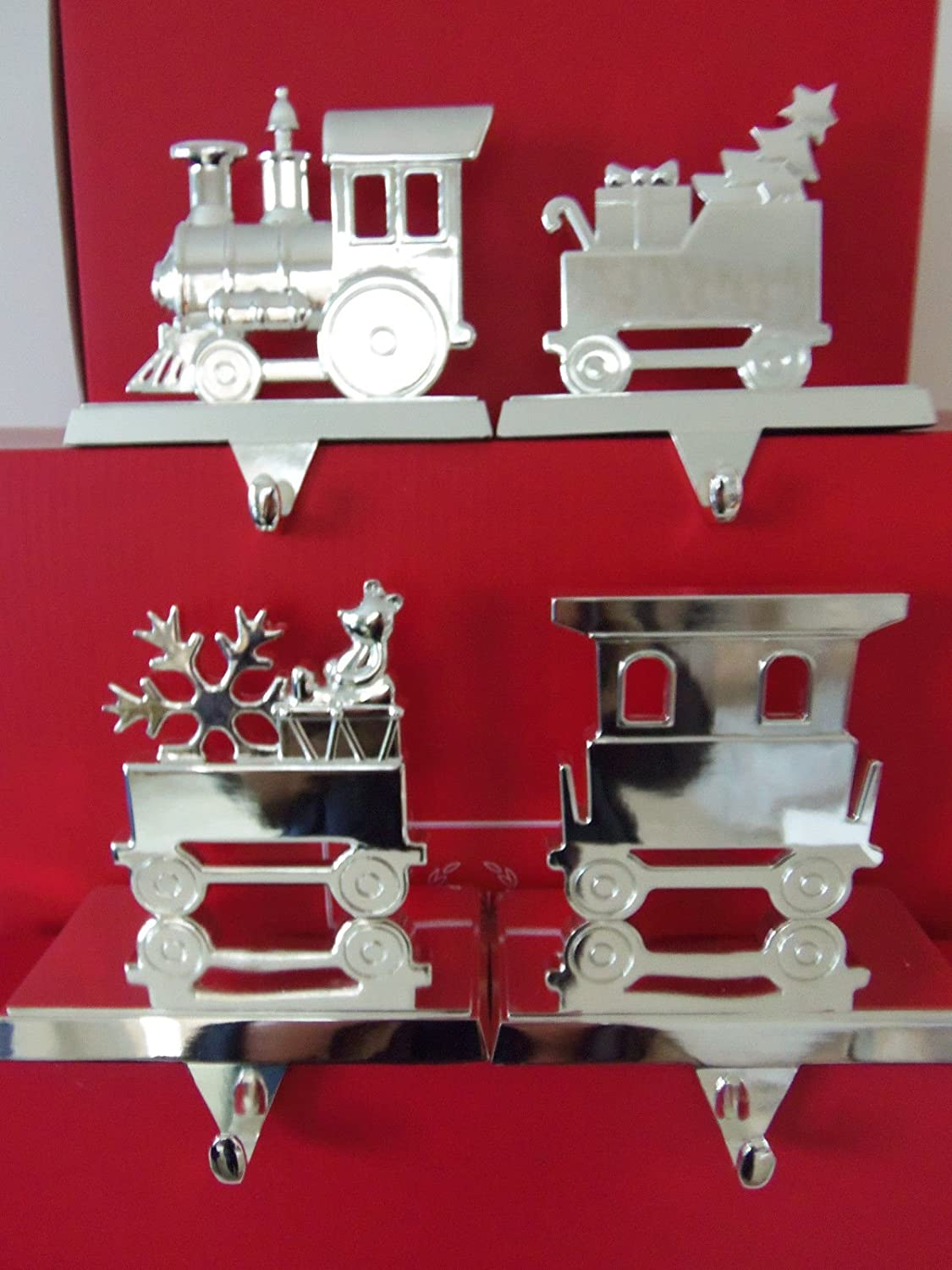 amazon com silver train christmas stocking hanger set home u0026 kitchen