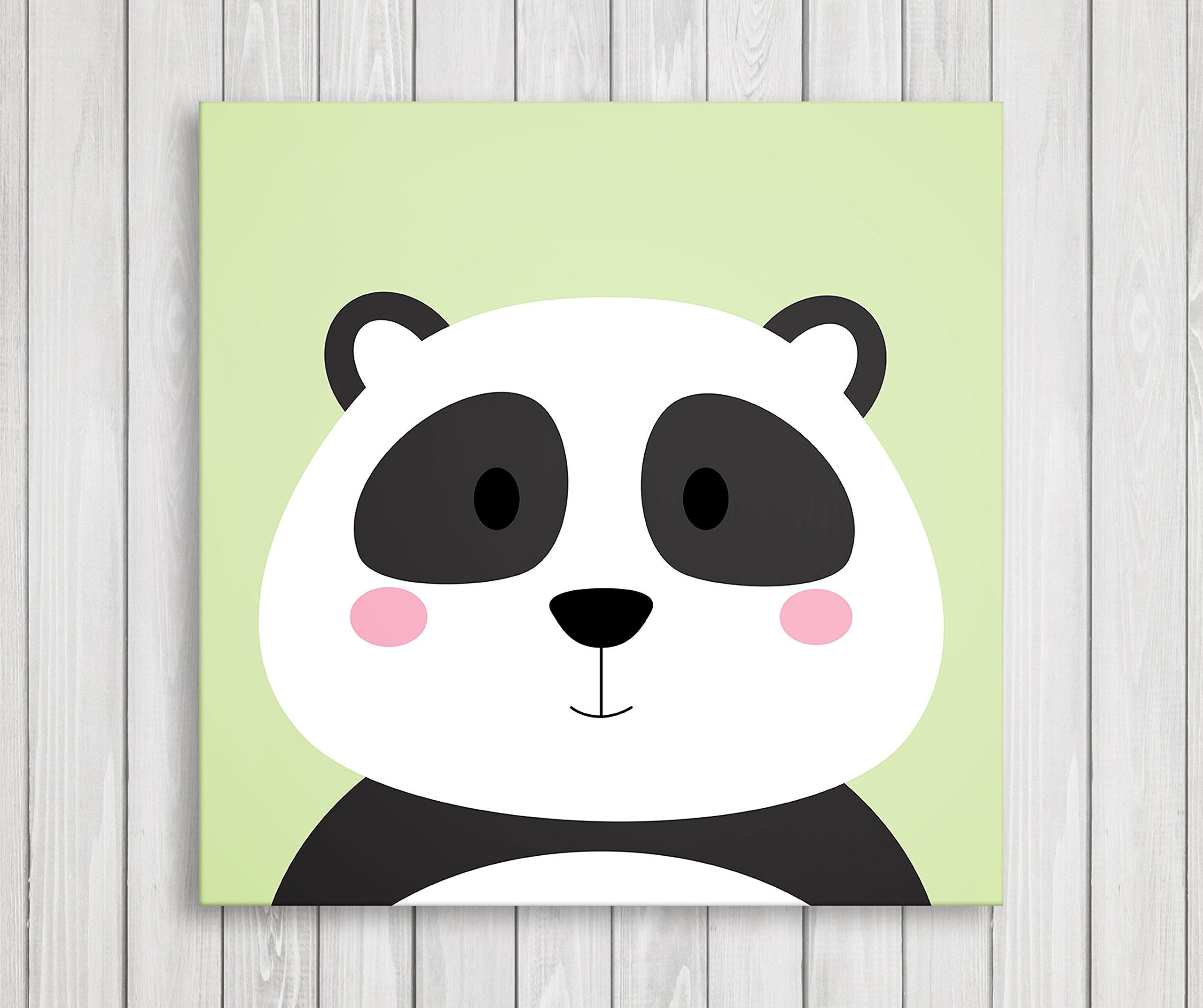 Cute Little Animals Nursery Wall Decor, Baby Room Canvas Art (11'' W x 11'' H, Panda)