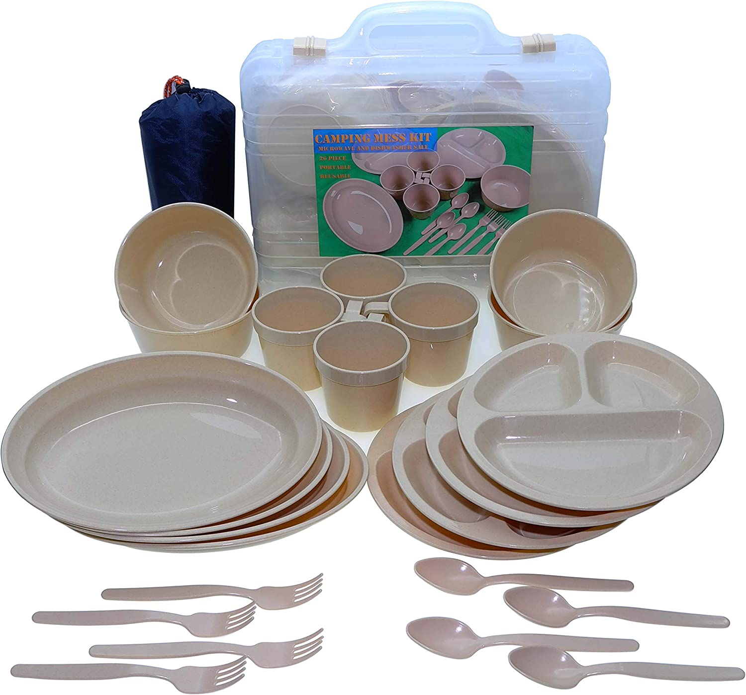 Camping Dish Set 26 Pieces Dinnerware Set with Camping Plates Cups and Bowls Eating Utensils,4 Person Backpacking Gear with Carry Case and Large Beach Blanket