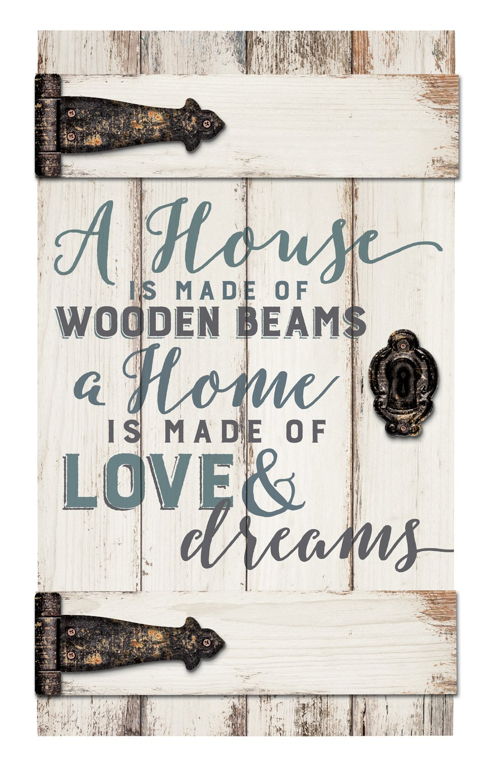 House Is Made Of Wooden Beams White 14 x 24 Inch Solid Pine Wood Barn Door Wall Plaque Sign