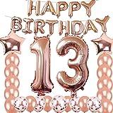 13th Birthday Decorations Party Supplies, Jumbo Rose Gold Foil Balloons for Birthday Party Supplies,Anniversary Events Decora