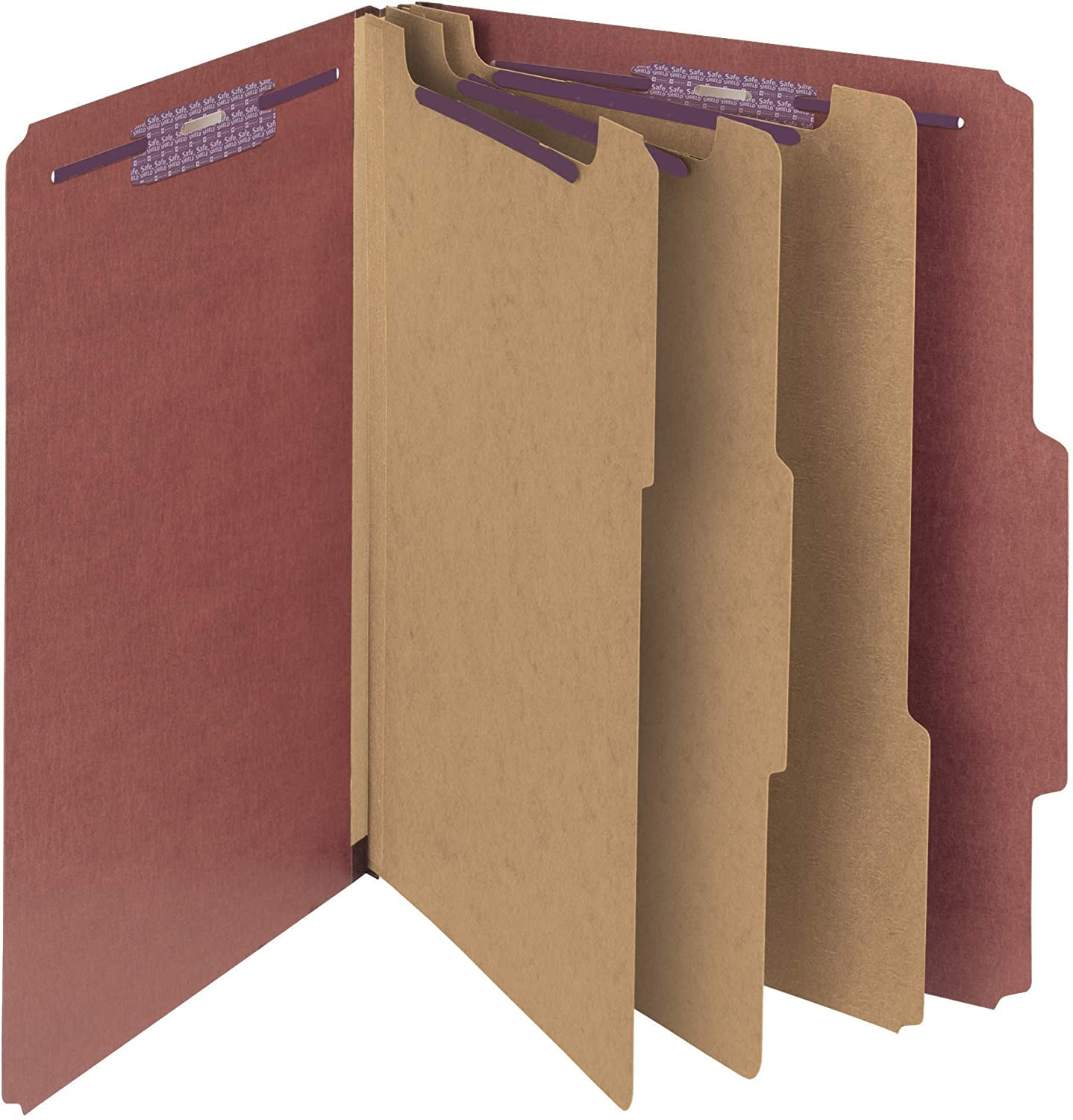 "Smead Pressboard Classification File Folder with SafeSHIELD Fasteners, 3 Dividers, 3"" Expansion, Letter Size, Red, 10 per Box (14092)"