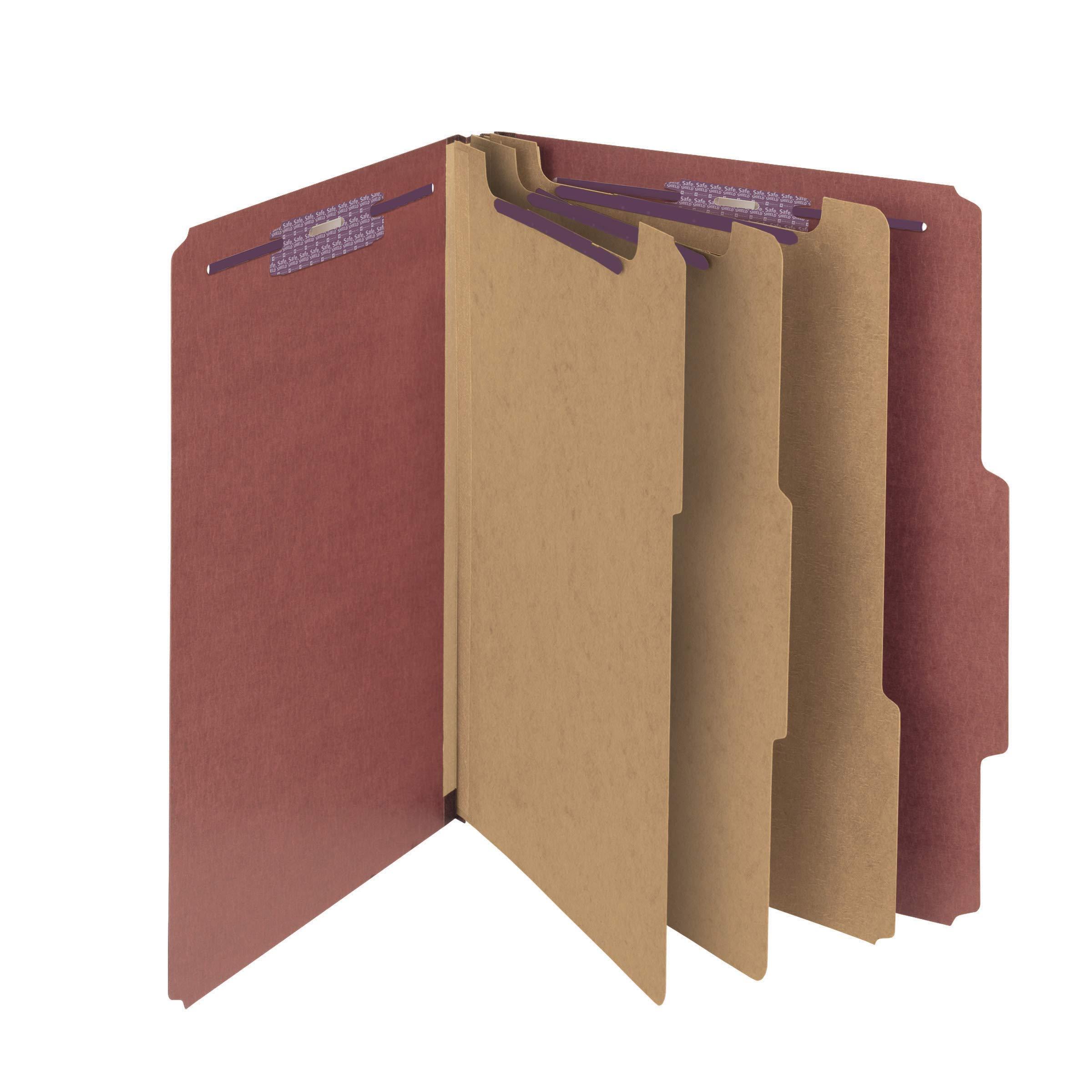 Smead Pressboard Classification File Folder with SafeSHIELD Fasteners, 3 Dividers, 3'' Expansion, Letter Size, Red, 10 per Box (14092)