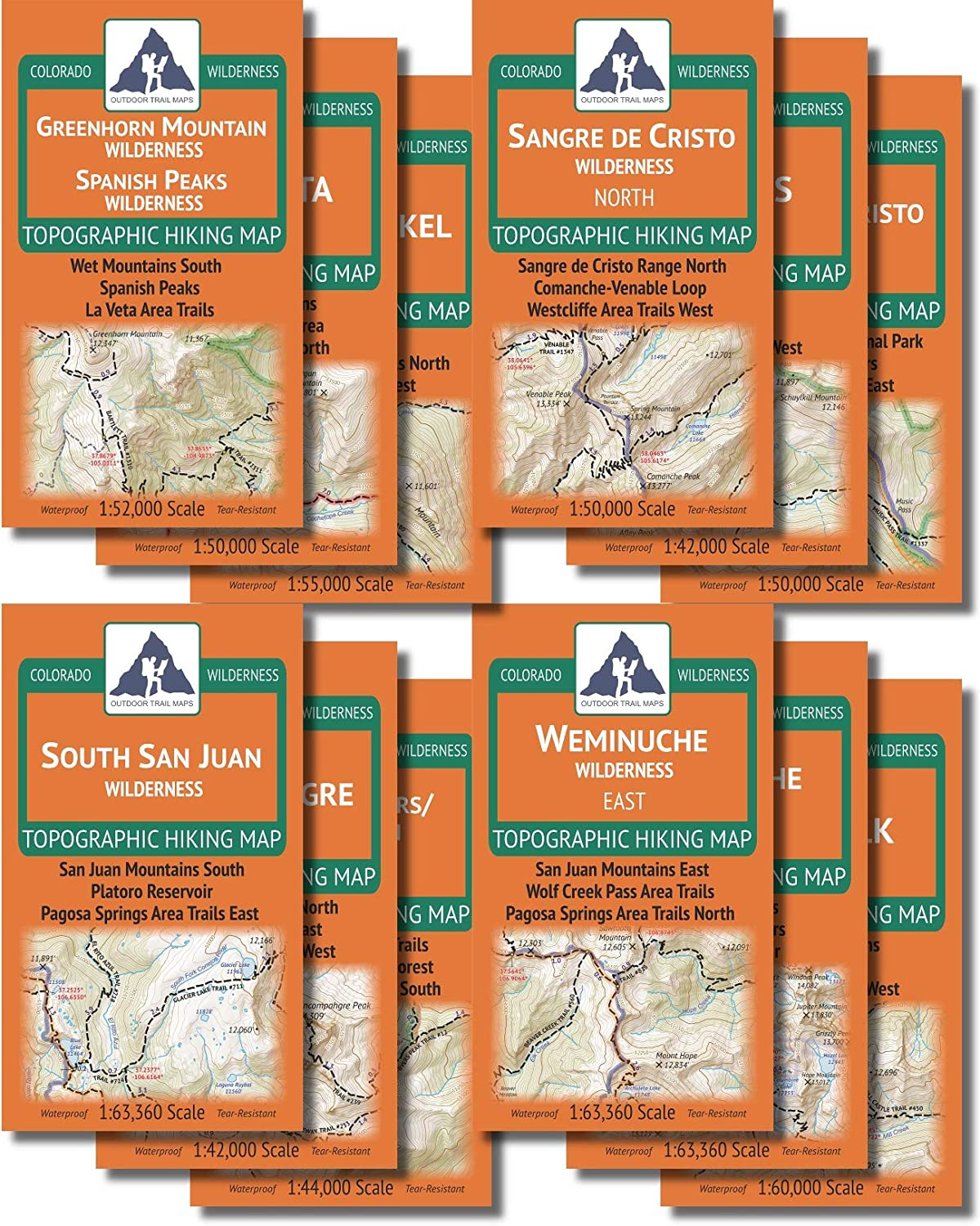 1946906530 Outdoor Trail Maps The Colorado Wilderness Map Series, Volume 2 - Topographic Hiking 12 Map Pack (2019) 81WJxwKOQTL.SL1500_
