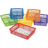 "6 Pack Classroom Storage Baskets With Handles, 14"" x 10"" x 3"" Colorful Stacking Bins for Teacher Paper, School / Office Organization, by Fun Express"