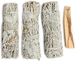 Mamalaima Premium California White Sage 5 Inch Smudge Sticks 3 Pack, and Palo Santo Stick. Replenishment Altar Kit Set. for Home Cleansing, Fragrance, Meditation, Yoga, Smudging Ritual. Healing