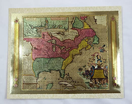 Vintage 1970/'s Matthew Seutter 1735 North America Color Foil Etch Map